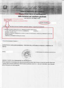 Visura con iscrizione/precedente penale