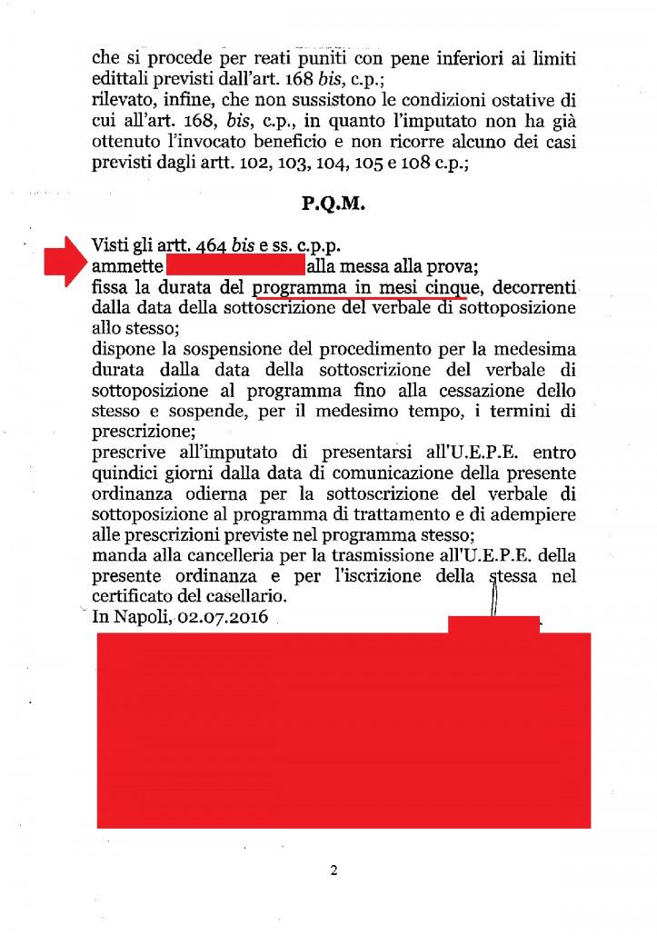 ordinanza di ammissione alla messa alla prova
