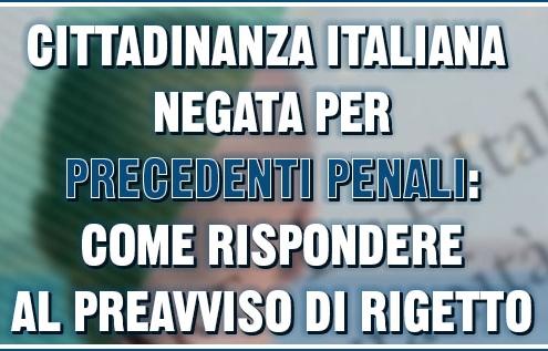 cittadinanza italiana negata per precedenti penali